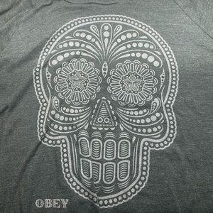 Women's Obey long sleeve skull shirt in gray Sz M
